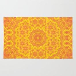 vibrant golden yellow mandala Rug