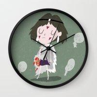 princess mononoke Wall Clocks featuring Princess Mononoke by Rod Perich