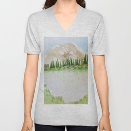 Mountain and lake Unisex V-Neck
