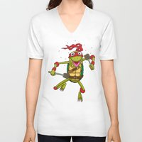 muppet V-neck T-shirts featuring TEENAGE MUPPET NINJA PUPPET by T.a. Bryant