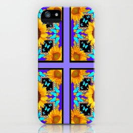 Lilac Purple Yellow Sunflowers & Turquoise Butterflies Patterns iPhone Case