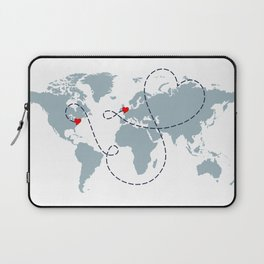 Long Distance World Map - UK to New York Laptop Sleeve