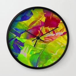 Pop Art Neon Leaf Pattern No. 1 Wall Clock