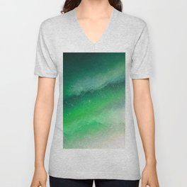 Shades of Emerald green Jewel Abstract Unisex V-Neck