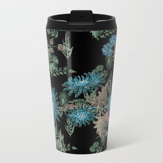 Blue chrysanthemums. Black . Watercolor . Metal Travel Mug