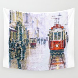 Istanbul Nostalgic Tramway Wall Tapestry