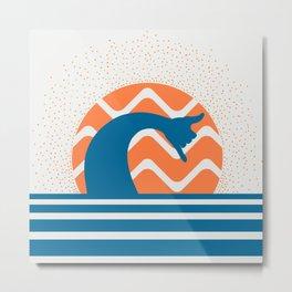 Hang Loose Wave // Sun Surfer Shaka Beach Retro Graphic Design Horizontal Daze Waves Metal Print