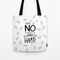 work hard Tote Bags featuring Hard Work by Sean Coady
