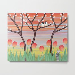 chickadees, pussy willow, & tulips Metal Print
