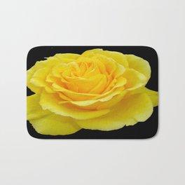 Beautiful Yellow Rose Flower on Black Background Bath Mat