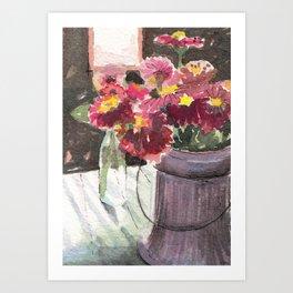 zinnias at sunset Art Print