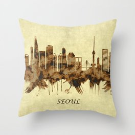 Seoul South Korea Cityscape Throw Pillow