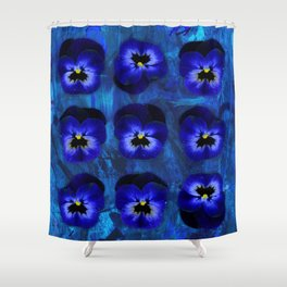 Deep Blue Velvet Shower Curtain