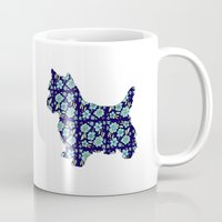yorkie Mugs featuring Blue Yorkie by blushandhoneypaper