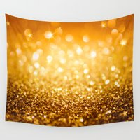 gold glitter Wall Tapestries featuring Gold Glitter Texture by Robin Curtiss