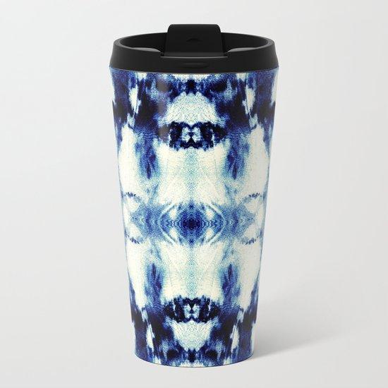 Tie Dye Blues Metal Travel Mug