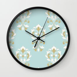 Heart Damask Ptn Gold Cream Blue Wall Clock
