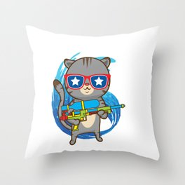 Awesome Water Gun Cat Lover - Funny Soaker Soaked Summertime Fun Throw Pillow
