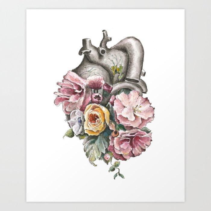 Floral Anatomy Heart Art Print By Trishathompson Society6