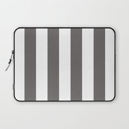 Ash Gray and White Vertical Cabana Tent Stripes Laptop Sleeve