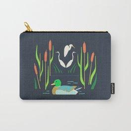 Mallard + Great Egret + Cattails Carry-All Pouch