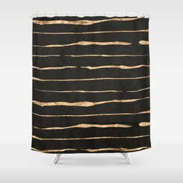 Black and rose-gold abstract stripes Shower Curtain