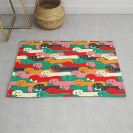 dachshund pattern- happy dogs Rug