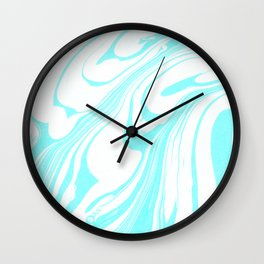 Blue Ink Swirl Marble Wall Clock
