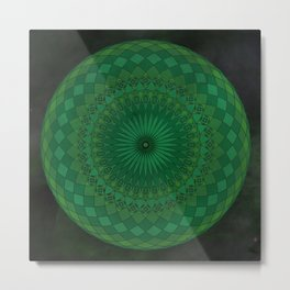 Green Psychedelic Mandala Kaleidoscope Metal Print