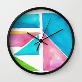180811 Watercolor Block Swatches 1| Colorful Abstract |Geometrical Art Wall Clock