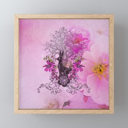 Funny easter bunny with flowers Framed Mini Art Print