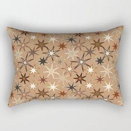 Modern Starburst Print, Coffee Brown and Beige Rectangular Pillow