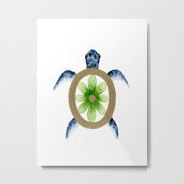 Flower Turtle Metal Print