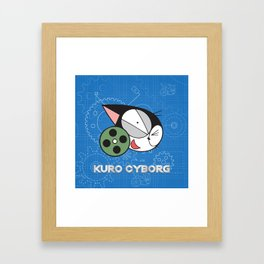 kuro cyborg cat Framed Art Print