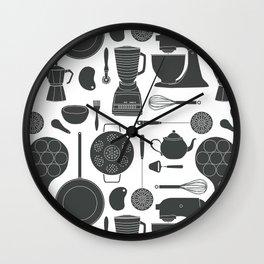 Kitchen Tools (black on white) Wall Clock