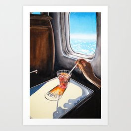 Glass in Airplane | Retro Mid Century | Mad Men Painting Art Print