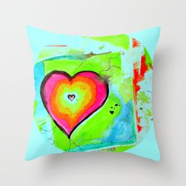 Love Makes the World Go 'Round | Heart Sphere Abstract Watercolor Throw Pillow