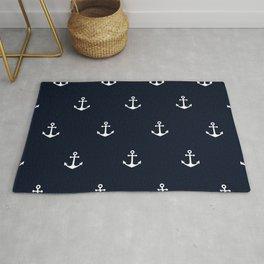 Dark Blue Anchor Pattern Rug