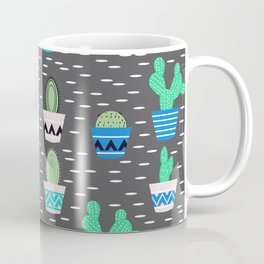 Potted cacti on a gray background Coffee Mug