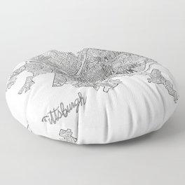Pittsburgh Neighborhoods - black and white Floor Pillow