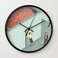 psychology Wall Clocks featuring Brain Room by Davide Bonazzi