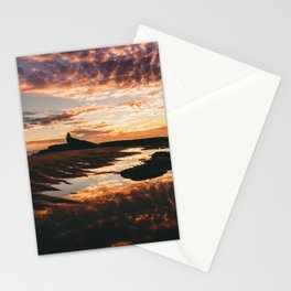 Reflective Water Landscape Cloudy Sky Sunlight After Rain Stationery Cards