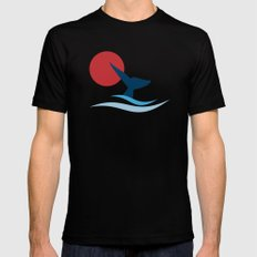 whale Black Mens Fitted Tee LARGE