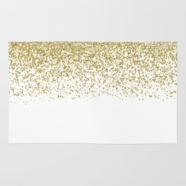 Sparkling gold glitter confetti on simple white background- Pattern Rug