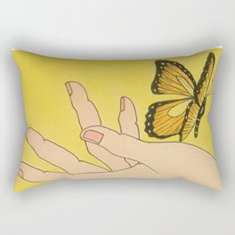 Butterfly on hand Rectangular Pillow