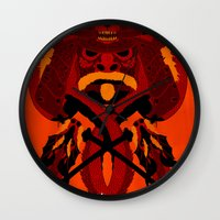 war Wall Clocks featuring WAR by ELECTRICMETHOD.NET