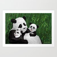 pandas Art Prints featuring Pandas by Jason Bryant Parker
