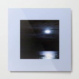 Moon Over Lake Michigan Metal Print