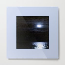 Moon Over Lake Michigan Metal Print