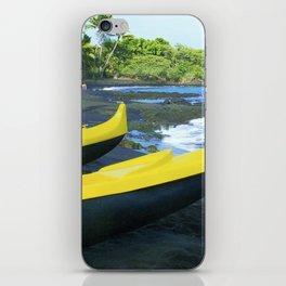 Outriggers on Hawaii's Big Island Black Sand Beach iPhone Skin